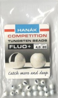 Tungsten Beads Hanák Competition fluo+ bílý 4mm