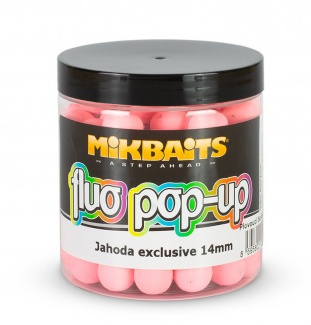 Boilie pop-up fluoro Mikbaits 250ml/14mm jahoda exclusive